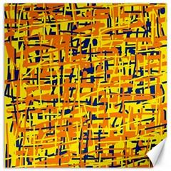 Yellow, orange and blue pattern Canvas 20  x 20