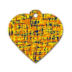 Yellow, orange and blue pattern Dog Tag Heart (Two Sides)