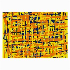Yellow, orange and blue pattern Large Glasses Cloth