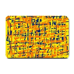 Yellow, orange and blue pattern Small Doormat