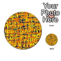 Yellow, orange and blue pattern Multi-purpose Cards (Round)