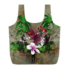 Wonderful Tropical Design With Palm And Flamingo Full Print Recycle Bags (L)