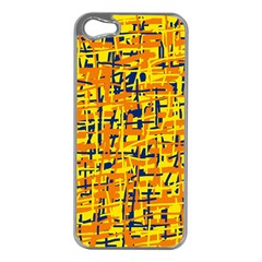 Yellow, orange and blue pattern Apple iPhone 5 Case (Silver)