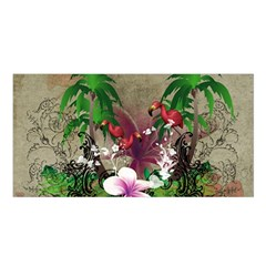 Wonderful Tropical Design With Palm And Flamingo Satin Shawl