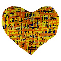 Yellow, orange and blue pattern Large 19  Premium Heart Shape Cushions