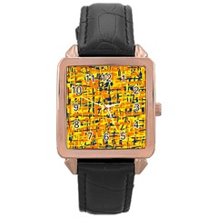 Yellow, orange and blue pattern Rose Gold Leather Watch