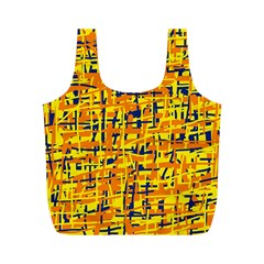 Yellow, orange and blue pattern Full Print Recycle Bags (M)