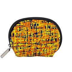 Yellow, orange and blue pattern Accessory Pouches (Small)