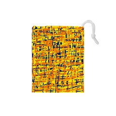 Yellow, orange and blue pattern Drawstring Pouches (Small)