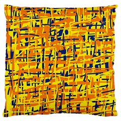 Yellow, orange and blue pattern Large Flano Cushion Case (Two Sides)