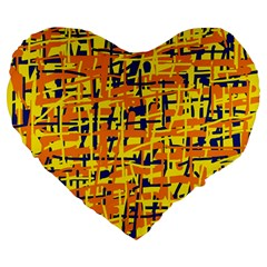 Yellow, orange and blue pattern Large 19  Premium Flano Heart Shape Cushions