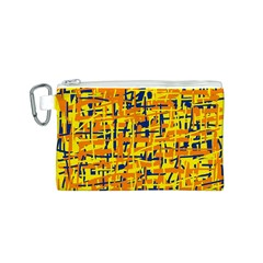 Yellow, orange and blue pattern Canvas Cosmetic Bag (S)