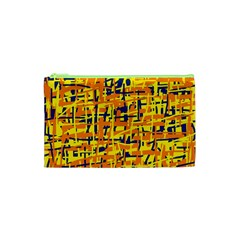 Yellow, orange and blue pattern Cosmetic Bag (XS)