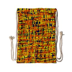 Yellow, orange and blue pattern Drawstring Bag (Small)