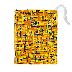 Yellow, orange and blue pattern Drawstring Pouches (Extra Large)