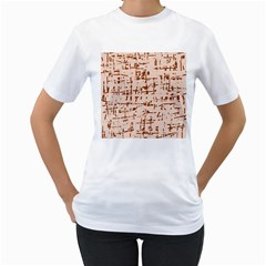 Brown elegant pattern Women s T-Shirt (White) (Two Sided)