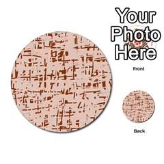 Brown elegant pattern Multi-purpose Cards (Round)