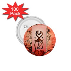 Cute Giraffe In Love With Heart And Floral Elements 1.75  Buttons (100 pack)