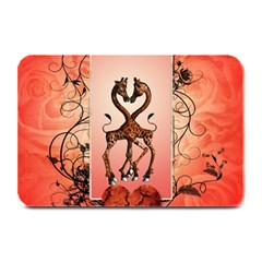 Cute Giraffe In Love With Heart And Floral Elements Plate Mats