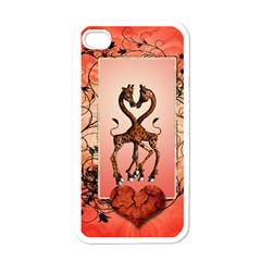 Cute Giraffe In Love With Heart And Floral Elements Apple iPhone 4 Case (White)