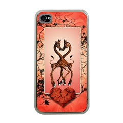 Cute Giraffe In Love With Heart And Floral Elements Apple iPhone 4 Case (Clear)
