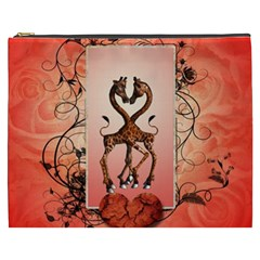 Cute Giraffe In Love With Heart And Floral Elements Cosmetic Bag (XXXL)