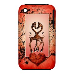 Cute Giraffe In Love With Heart And Floral Elements Apple iPhone 3G/3GS Hardshell Case (PC+Silicone)