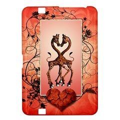 Cute Giraffe In Love With Heart And Floral Elements Kindle Fire Hd 8 9