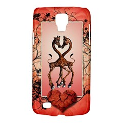 Cute Giraffe In Love With Heart And Floral Elements Galaxy S4 Active