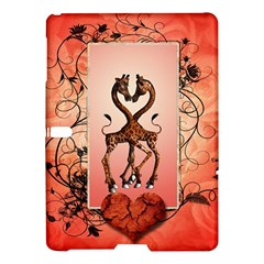 Cute Giraffe In Love With Heart And Floral Elements Samsung Galaxy Tab S (10.5 ) Hardshell Case