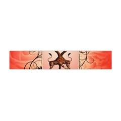 Cute Giraffe In Love With Heart And Floral Elements Flano Scarf (Mini)