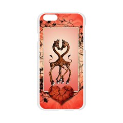 Cute Giraffe In Love With Heart And Floral Elements Apple Seamless iPhone 6/6S Case (Transparent)
