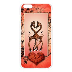 Cute Giraffe In Love With Heart And Floral Elements Apple Seamless iPhone 6 Plus/6S Plus Case (Transparent)