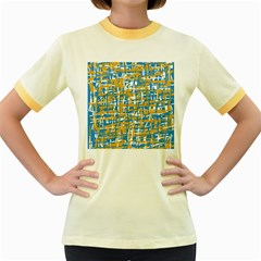 Blue and yellow elegant pattern Women s Fitted Ringer T-Shirts