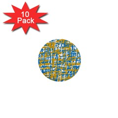 Blue and yellow elegant pattern 1  Mini Buttons (10 pack)