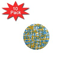 Blue and yellow elegant pattern 1  Mini Magnet (10 pack)