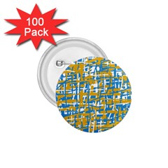 Blue and yellow elegant pattern 1.75  Buttons (100 pack)