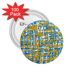 Blue and yellow elegant pattern 2.25  Buttons (100 pack)