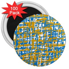 Blue and yellow elegant pattern 3  Magnets (100 pack)