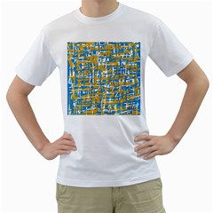 Blue and yellow elegant pattern Men s T-Shirt (White) (Two Sided)