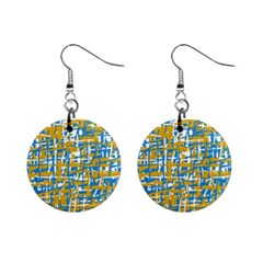 Blue and yellow elegant pattern Mini Button Earrings