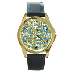 Blue and yellow elegant pattern Round Gold Metal Watch