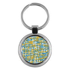 Blue and yellow elegant pattern Key Chains (Round)