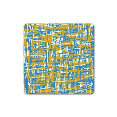 Blue and yellow elegant pattern Square Magnet