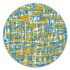 Blue and yellow elegant pattern Magnet 5  (Round)