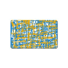 Blue and yellow elegant pattern Magnet (Name Card)