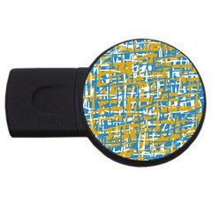 Blue and yellow elegant pattern USB Flash Drive Round (1 GB)