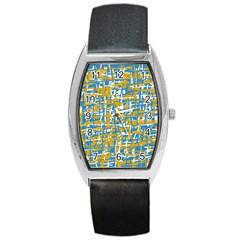 Blue and yellow elegant pattern Barrel Style Metal Watch