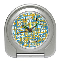 Blue and yellow elegant pattern Travel Alarm Clocks