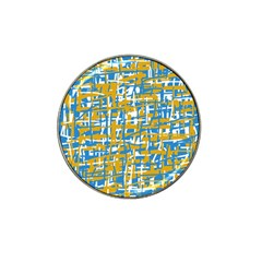 Blue and yellow elegant pattern Hat Clip Ball Marker (4 pack)